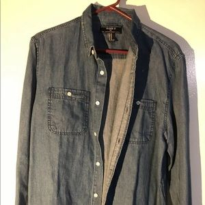 Forever 21 Men's M Blue Jean Button Down